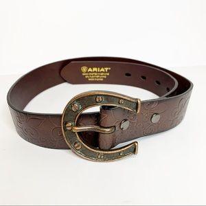 Ariat Women's Horseshoe brown leather Belt Sz S